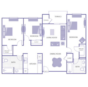 3 bed 2 bath floor plan, kitchen, dining room, terrace and storage, 2 walk-in closets, 2 closets